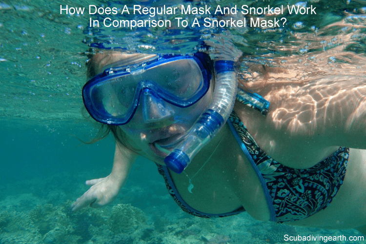 How does the regular mask and snorkel work in comparison to a snorkel mask