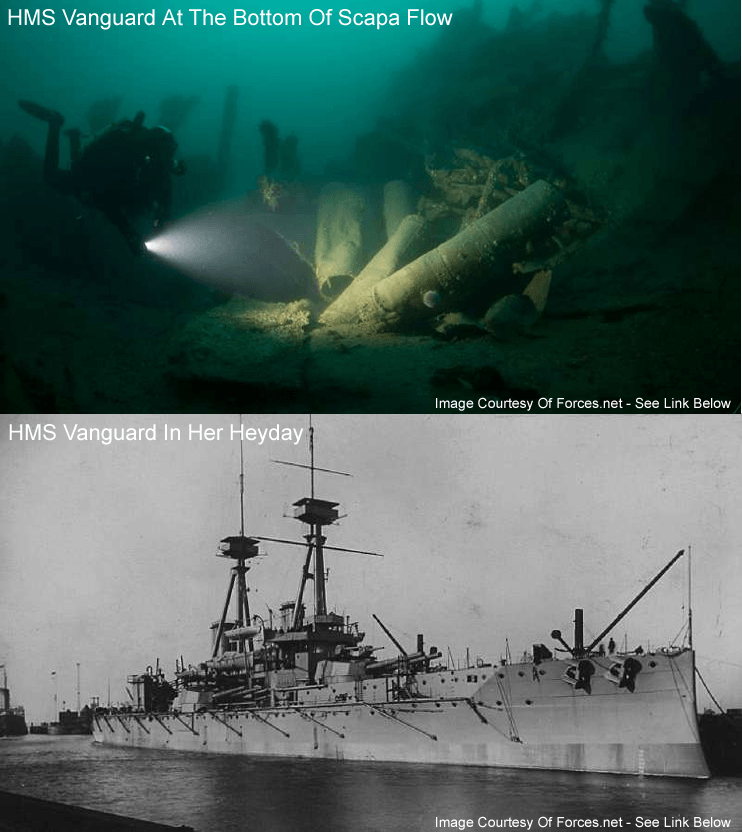 Scapa Flow Divers Reveal Wreck Of HMS Vanguard and in her heyday