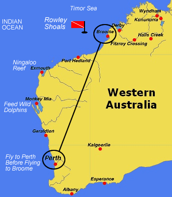 Rowley Shoals map with Broome and Perth Western Australia