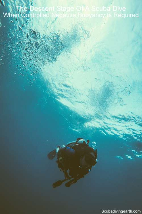 The descent stage of a scuba dive - when controlled negative buoyancy is required