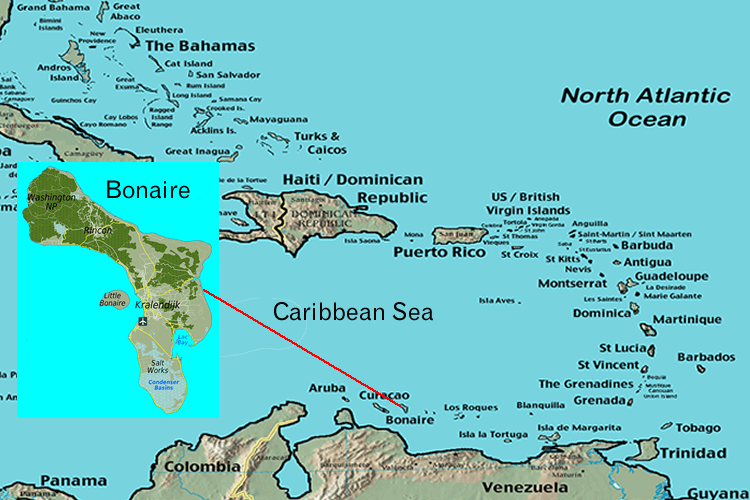 Where is Bonaire located in the Caribbean