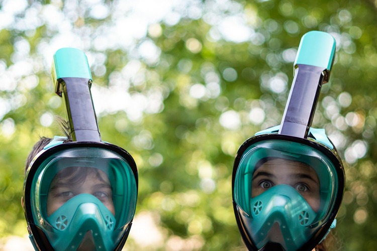 A full face snorkel mask has two separate compartments