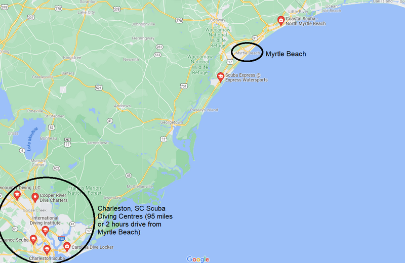 Are there Myrtle Beach snorkeling Tours - map of dive centres at Myrtle Beach