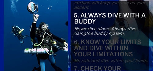 Diver Safety Rule number two - Always dive using the buddy system. Never dive alone