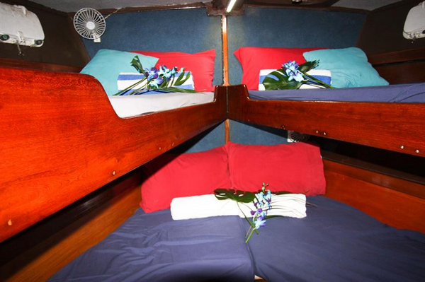 Features of Australia Coral Sea Dreaming cabin and deck - bunk cabins