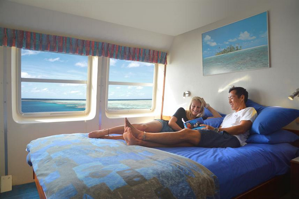 Features of Australia Ocean Quest cabin and deck - double cabin