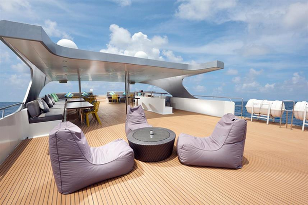 Indonesia Gaia Love cabin and deck - sundeck