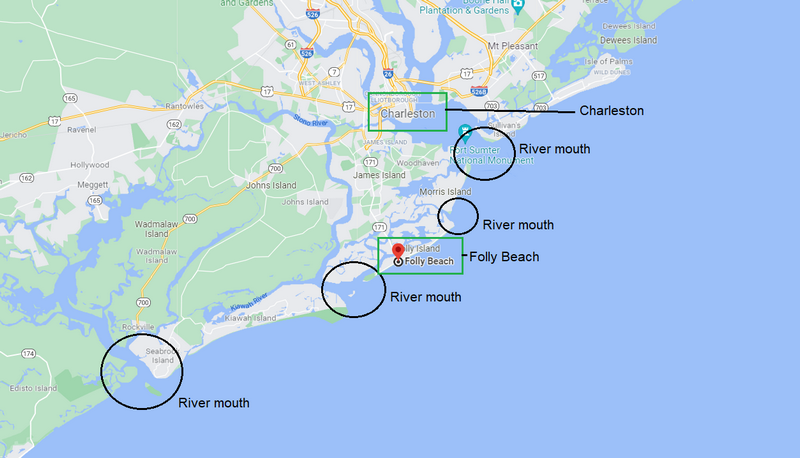 Folly Beach map with river mouths