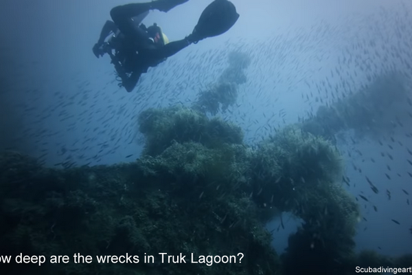 How deep are the wrecks in Truk Lagoon