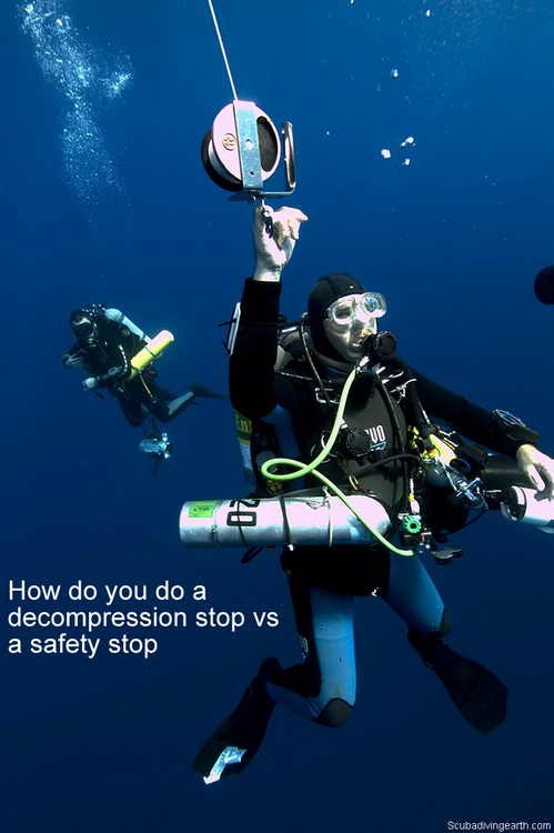 How do you do a decompression stop vs a safety stop