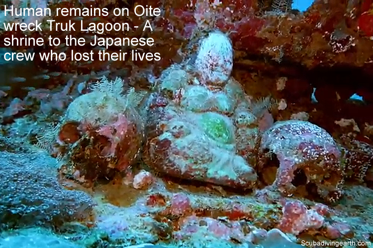 Human remains on Oite wreck Truk Lagoon - A shrine to the Japanese crew who lost their lives large