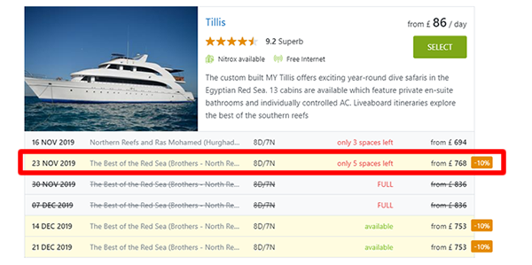Last minute liveaboard Red Sea Egypt - 10% offers