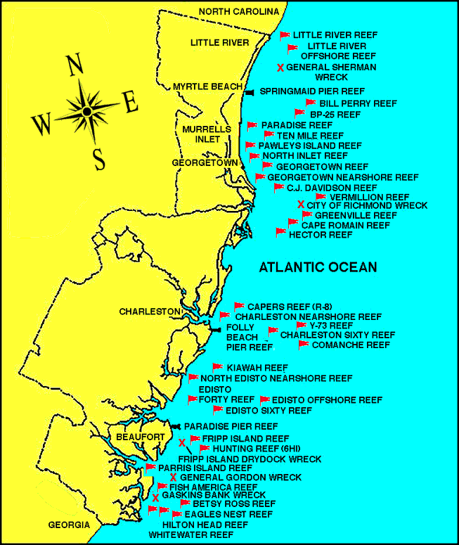 Locations of artificial reefs and wrecks in Myrtle Beach