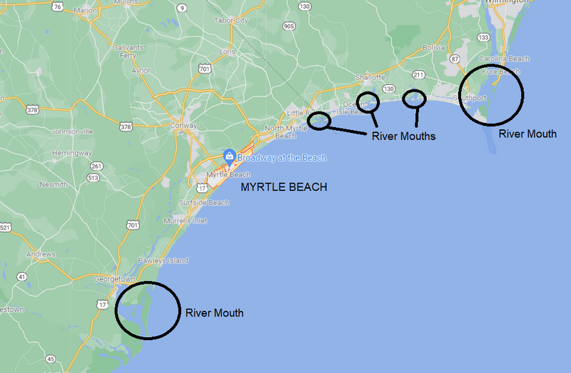 Map of river mouths exiting into Long Bay with Myrtle Beach