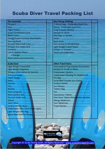 Scuba Diver Travel Packing List (Free PDF List So You Don't Forget Things!)