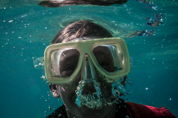 Scuba diving basics includes mask clearing