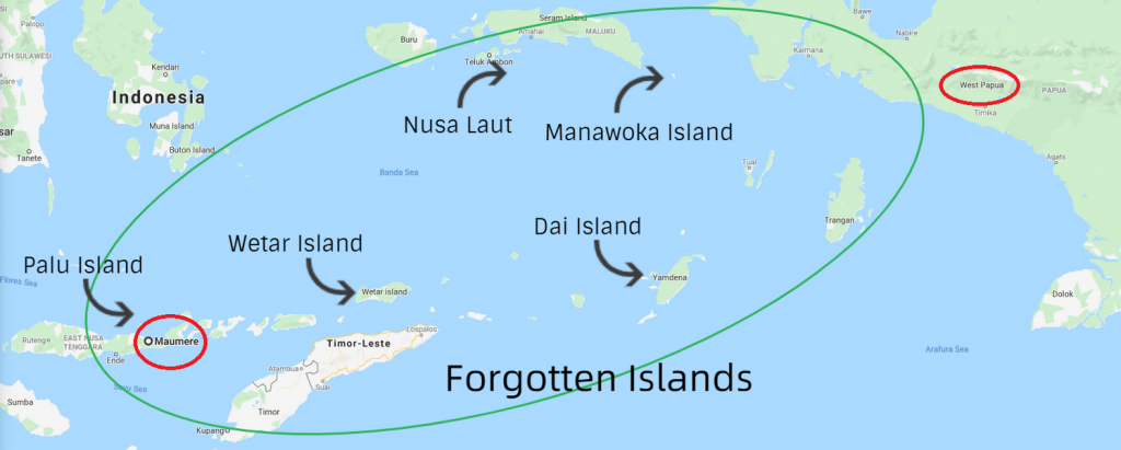Scuba diving the Indonesian Forgotten Islands by liveaboard map from Maumere to West Papua