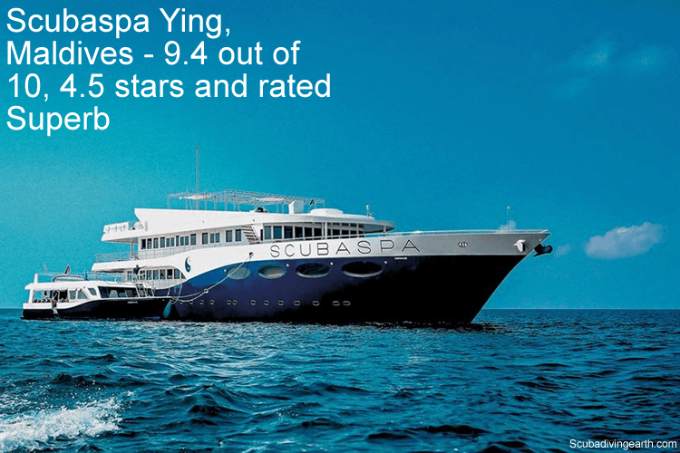 Scubaspa Ying, Maldives - 9.4 out of 10, 4.5 stars and rated Superb - liveaboard Maldives 5 days