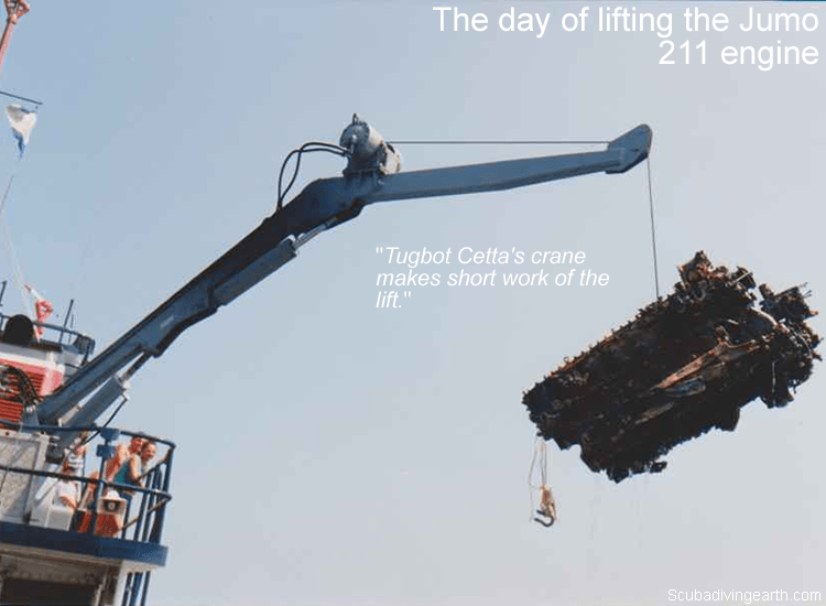 The day of lifting the Jumo 211 engine