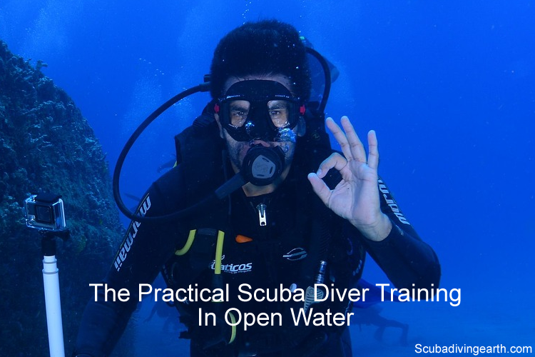 The practical scuba diver training in open water