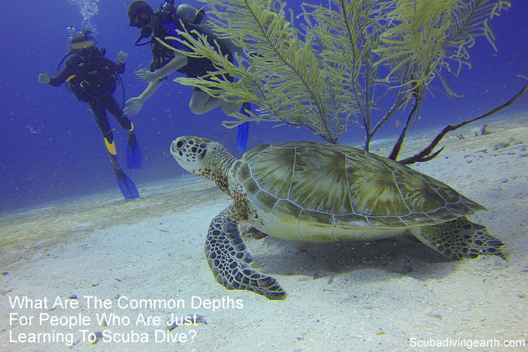 What are the common depths for people who are just learning to scuba dive