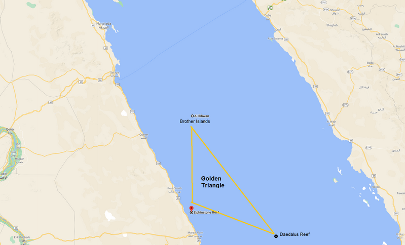 Where is Elphinstone Reef in the Red Sea - Elphinstone Reef Egypt Map and the Golden Triangle